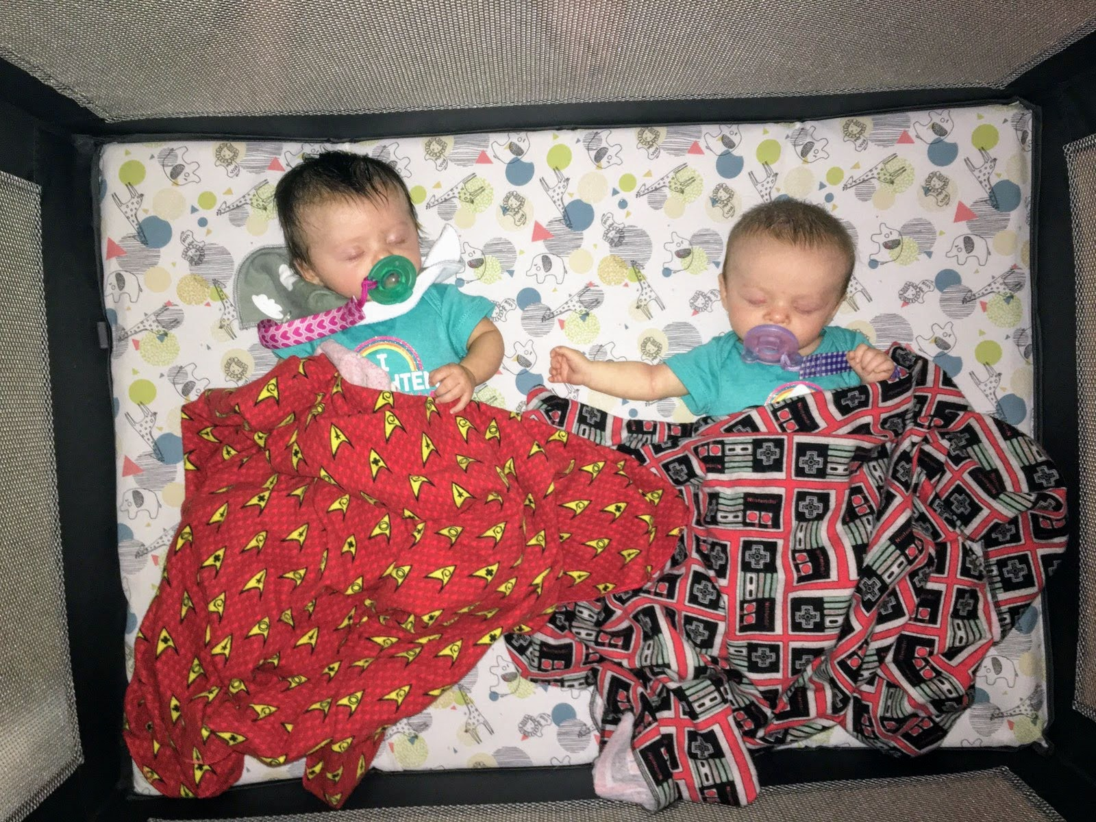3 month old twins napping